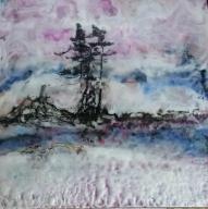 Winter Night, Oil Encaustic, 10 x 10, 2018 $320