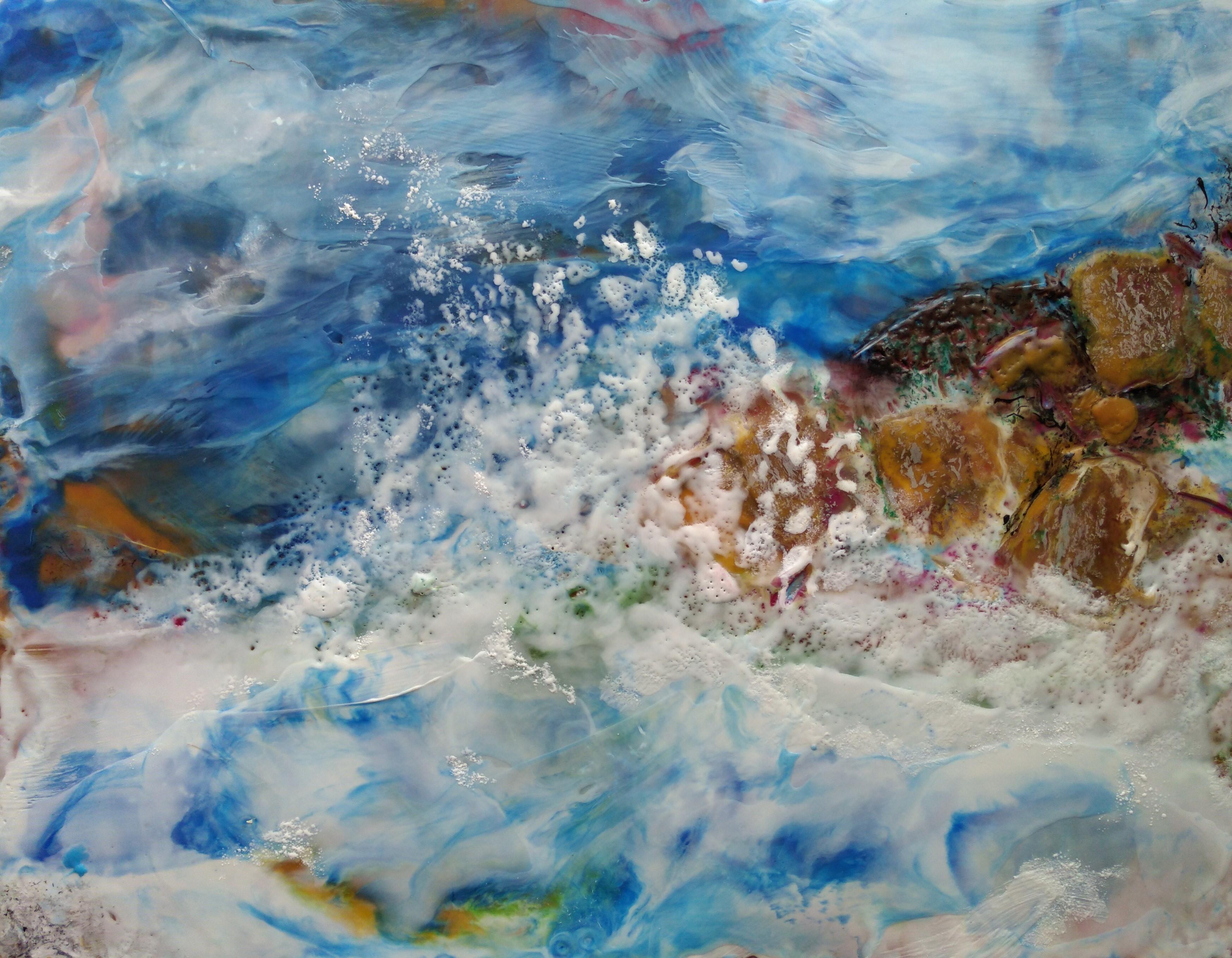 Hieblinger. December Storm; oil, wax, resin; 11hx15w