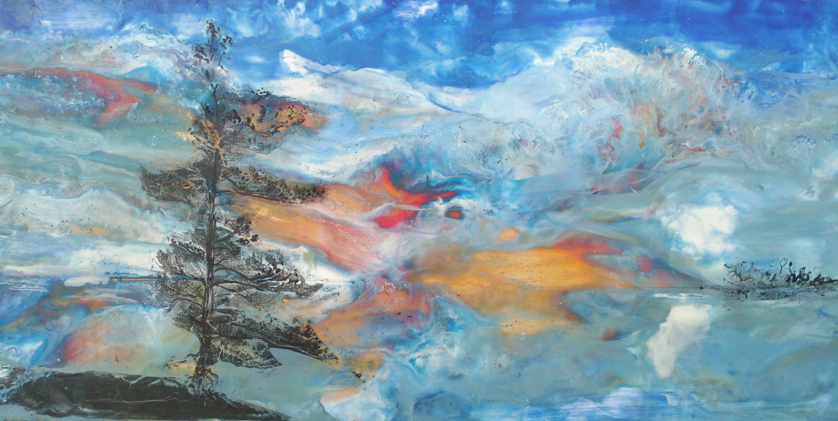 Hieblinger, Fire Dance, oil, wax, resin, 12x24, $290