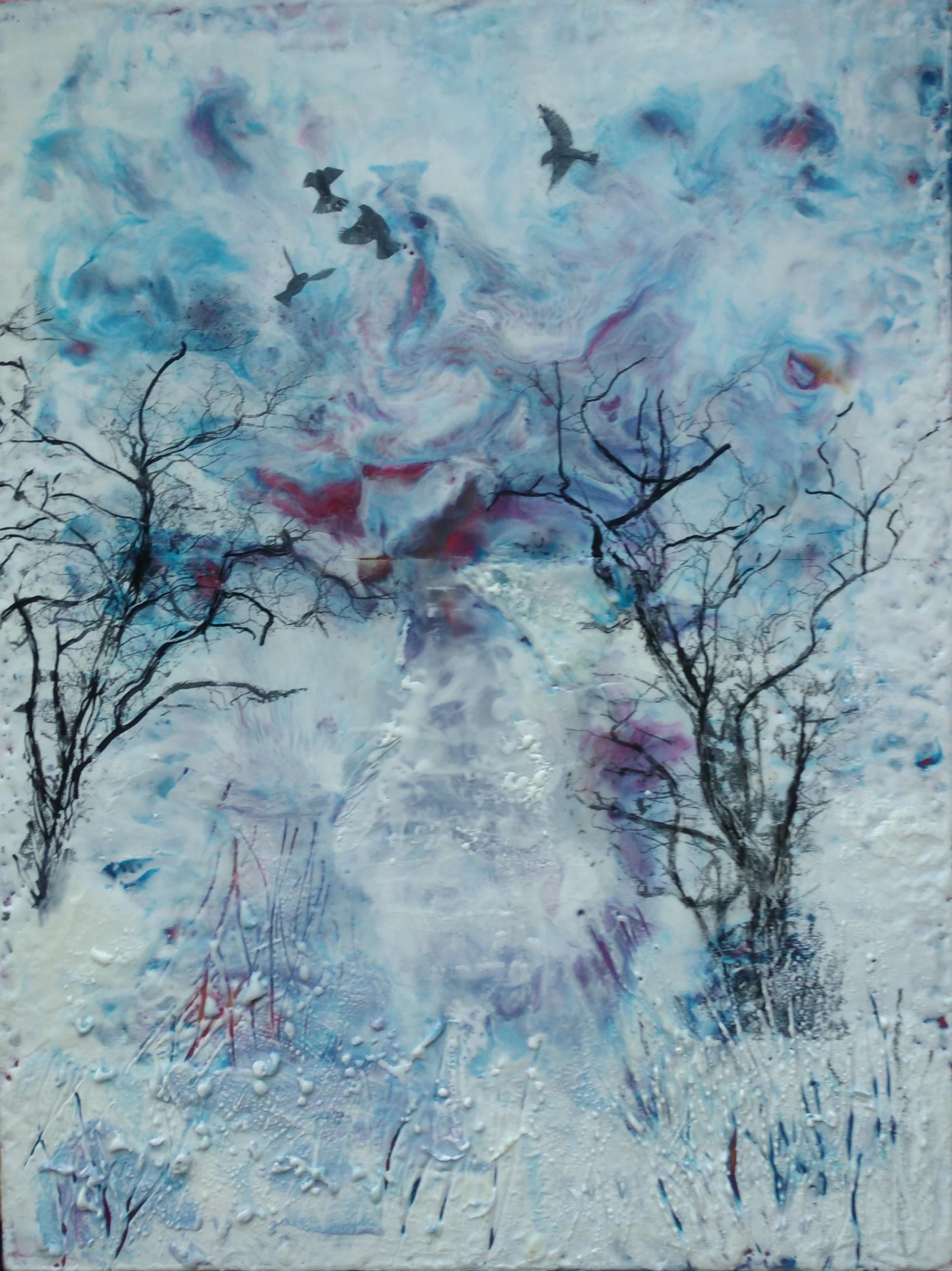 Hieblinger, Listen, encaustic, 12wx24h, 1.5 gallery mount, $230